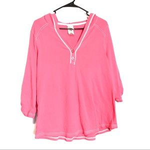 Just My Size JMS Hoodie V Neck Cotton Pink Top